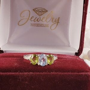 Sterling Silver Peridot & Blue Topaz Ring